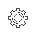 Cogwheel, gear line icon, outline vector sign