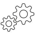 Cogwheels simple icon. Contour illustration