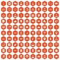 100 coherence icons hexagon orange