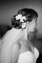 Coiffure of young bride made with flowers Royalty Free Stock Photography