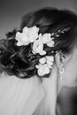 Coiffure of young bride made with flowers Royalty Free Stock Images