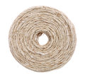 Coil of linen twine on white background closeup Royalty Free Stock Photo