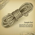 Coil of rope on rown text old brown background and vector illustration Stock Image