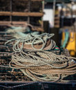 Coil of rope on top a lobster trap in prince edward island Stock Photography