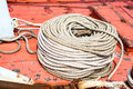 Coil of rope used on boats Stock Photo