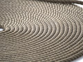 Coiled rope a on the deck of an old sailing ship in nyhaven copenhagen denmark Stock Image