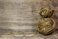 The coils of jute rope on wooden background free space for text Stock Photos