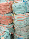 Coils of rope a variety coloured Royalty Free Stock Photos