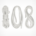 Coils of rope on white different vector illustration Stock Image
