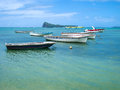 Coin de mire mauritius fishing boats in malheureux a small fishing village with a beautiful clear blue waters located at the Stock Photography
