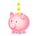 Coin falling into Piggy Bank Royalty Free Stock Photos