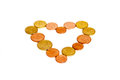 Coin heart money made with coins of europe Royalty Free Stock Image