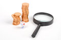 Coin,magnifier and dice Royalty Free Stock Photo