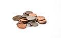 loose pocket change on white Royalty Free Stock Photo