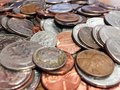 Coin money coins quarters pennies dimes nickel finance Royalty Free Stock Images