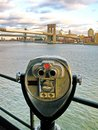 Coin-operated binoculars on Pier 17, in front of Brooklyn Bridge Royalty Free Stock Photo