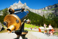 Coin operated telescope in the mountains sixt fer a cheval in france Stock Photography