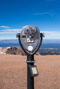 Coin operated telescope on the top of pike peak summit colorado springs Royalty Free Stock Photos