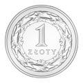 Coin 1 PLN Royalty Free Stock Photo