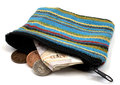 Coin purse with british currency on white background Royalty Free Stock Photo