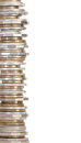 Coin tower of australian money border stacked circulated coins isolated on white Royalty Free Stock Photography