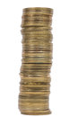 Coin tower a made out of golden coins Stock Image