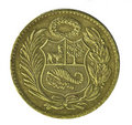 Coin. Un Sol de oro. Peru. Revers Royalty Free Stock Images