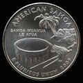 Coin 25 US cents. States and territories. American Samoa Royalty Free Stock Photo