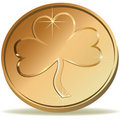 Coin wirh clover Stock Photo