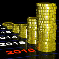 Coins On 2016 Shows Finance Forecasting Royalty Free Stock Photo