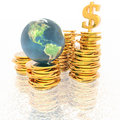 Coins with 3D globe Royalty Free Stock Photos