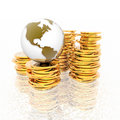 Coins with 3D globe isolated on Royalty Free Stock Photo