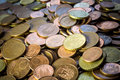 Coins background cents fund stacked euro Royalty Free Stock Images