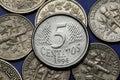 Coins of brazil brazilian five centavos coin Stock Image