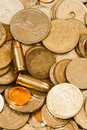 Coins and bullets Stock Photos