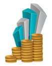 Coins business graph Royalty Free Stock Photos