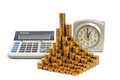 Coins and calculator folded in the bars time is money Stock Photo