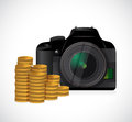Coins and camera illustration design over a white background Royalty Free Stock Image