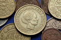 Coins of denmark queen margrethe ii depicted in danish krone Stock Photo