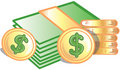 Coins and dollars Icon Royalty Free Stock Photo