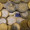 Coins euro cents are on a paper bill of fifty euros. Euro money Royalty Free Stock Photo