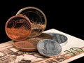 Coins of GDR (DDR) and the European Union. Stock Photography