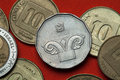 Coins of israel ionic column capital depicted in the israeli five new shekels coin Stock Image