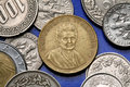 Coins of italy italian physician and educator maria montessori depicted in the old italian lira coin Royalty Free Stock Photos