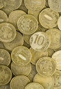Coins a lot of mettal monies russian rubles Stock Photos