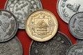 Coins of Nepal. Mount Everest (Sagarmatha) Royalty Free Stock Photo