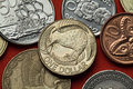 Coins of New Zealand. Kiwi and silver fern Royalty Free Stock Photo