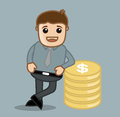 With coins office and business people cartoon character vector illustration concept drawing art of businessman standing gold Royalty Free Stock Image
