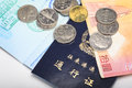 Coins and passes hong kong macao Stock Image