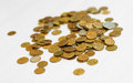 Coins scattered on the table. Coins of Russia. Closeup Royalty Free Stock Photo